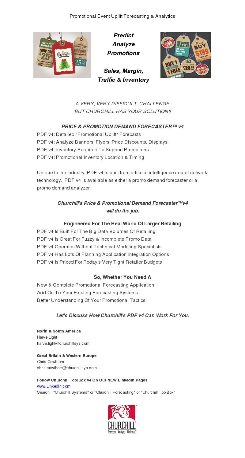 Promotional Uplift Demand Forecasting Solution Update - Churchill